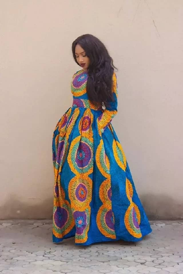 Latest Ankara long gown with long sleeves
