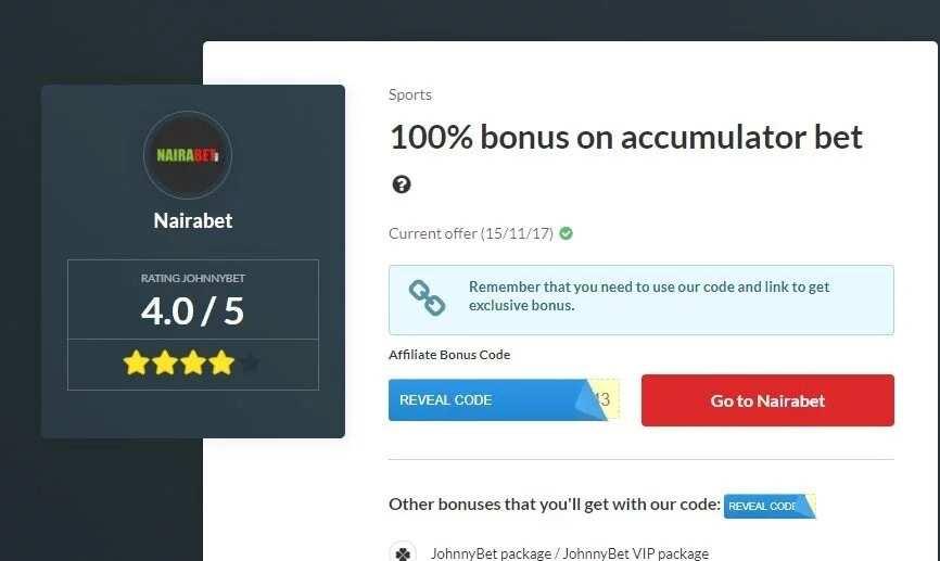 NairaBet Bonus Code