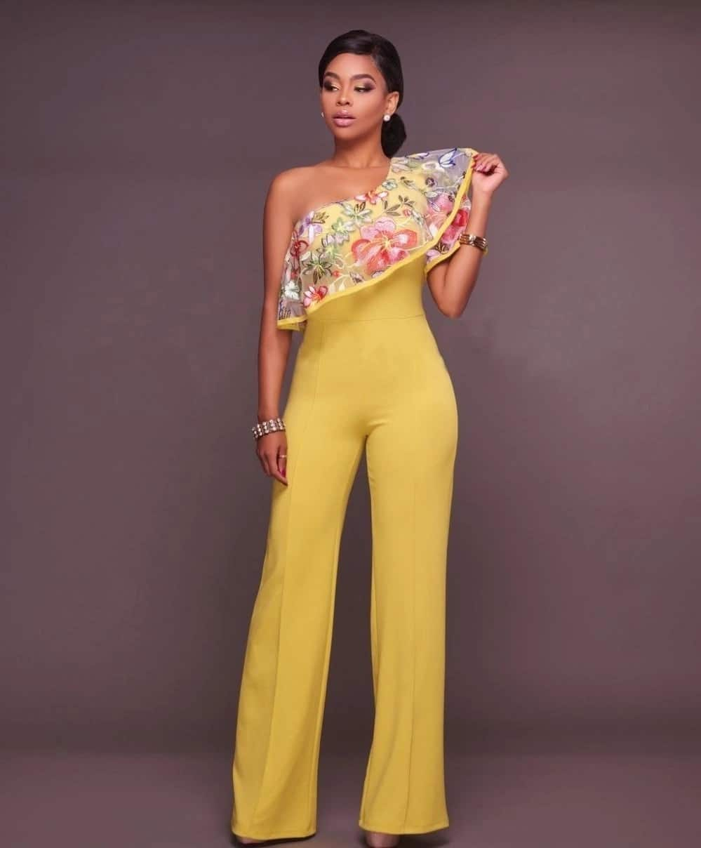 Yellow jumpsuit with decor
