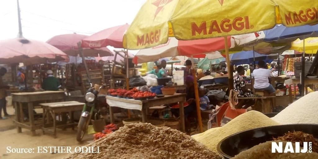 Foodstuff items like egusi, dry pepper and crayfish have become relatively low at Agric market, Ikorodu, Lagos. Photo credit: Esther Odili