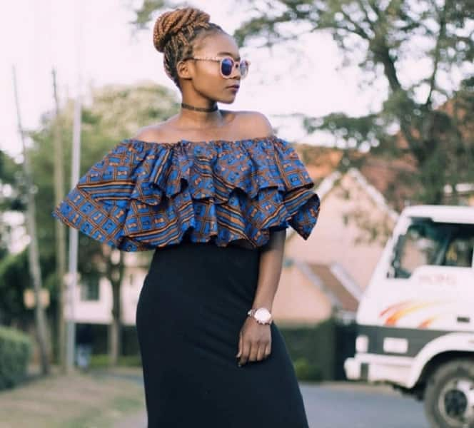 Cold shoulder Ankara top with frills