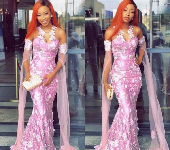 Aso Ebi gown with removable transparent sleeves
