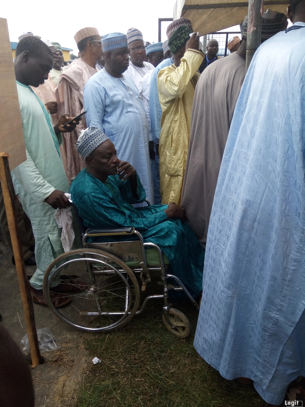 PDP convention: Physically challenged delegate waits for his turn during accreditation