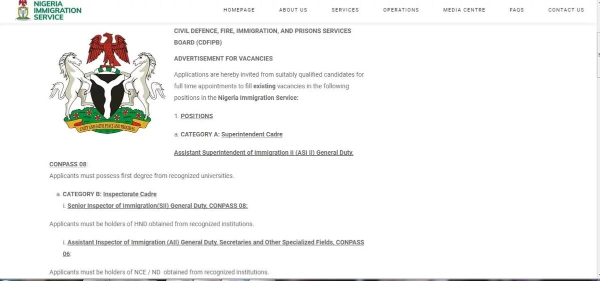 Screen of vacancies at Nigeria Immigration Service