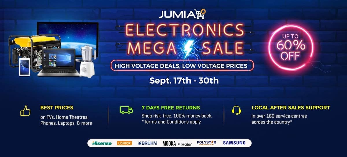 Jumia's electronics mega sale with with 7 days guaranteed free returns