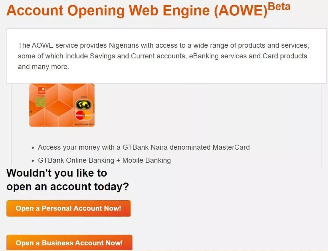 Guide on how to open GTB account online
