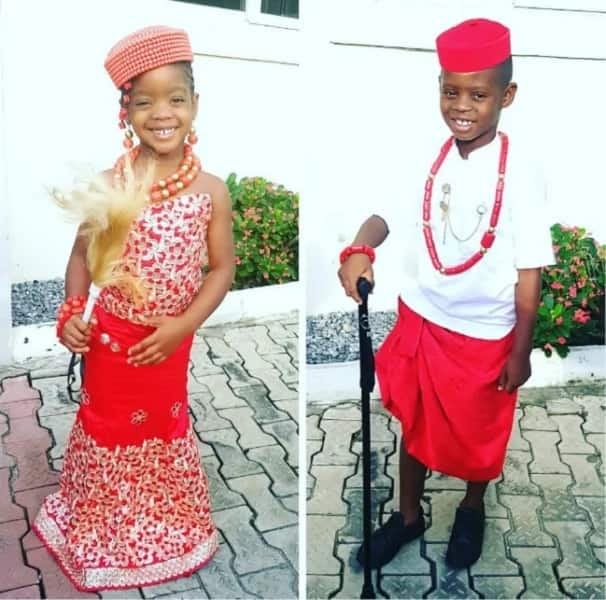 0e71ff187 Igbo traditional attire for boy with a red wrapper and white tunic (Jason  and Ada