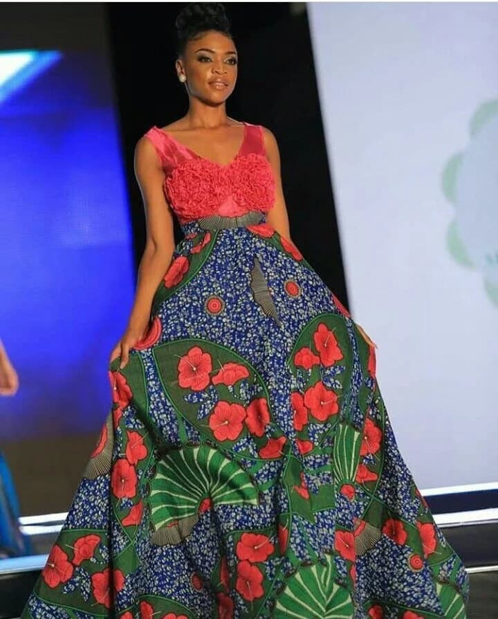 Ankara gown with overstated waist (photo from Miss Africa 2017)