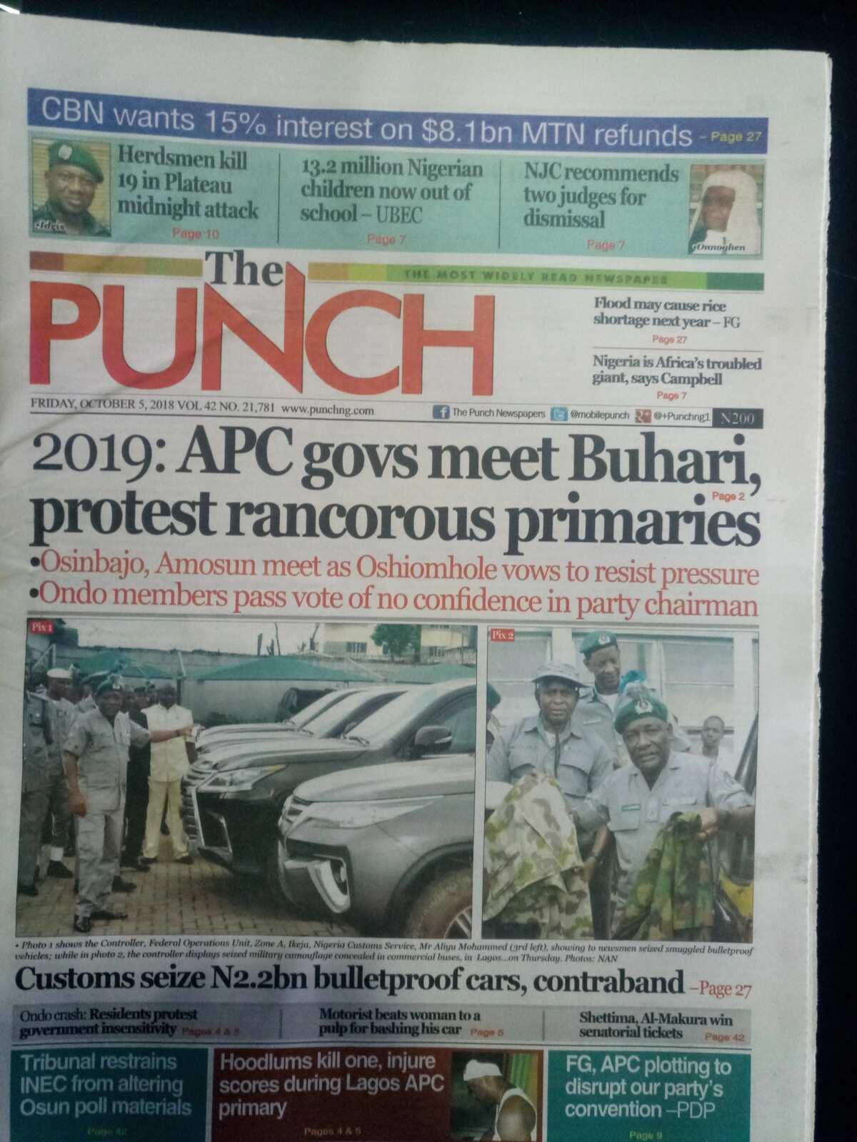 2019: APC governors meet Buhari over conduct of primaries (Newspaper Review)