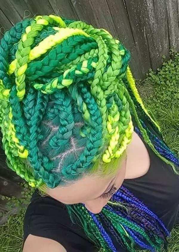 Green box braids hairstyles