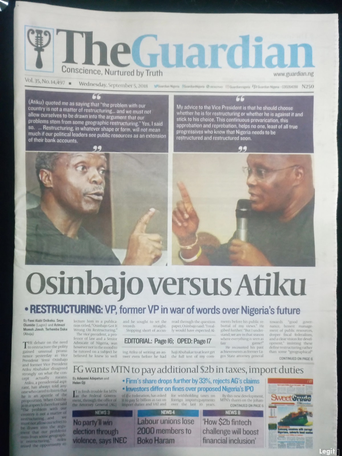 The Guardian newspaper review for Wednesday, September 5.