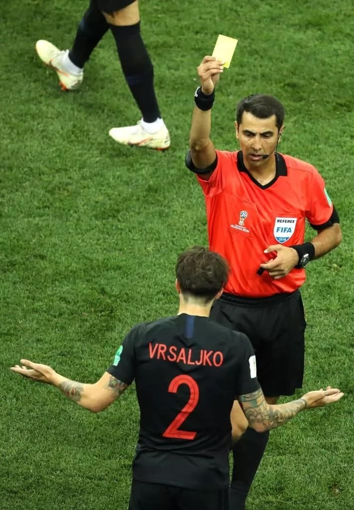 Croatia defender Sime Vrsaljko receives a yellow card for his troubles during their 3-0 win over Argentina Photo Credit: Getty Images.