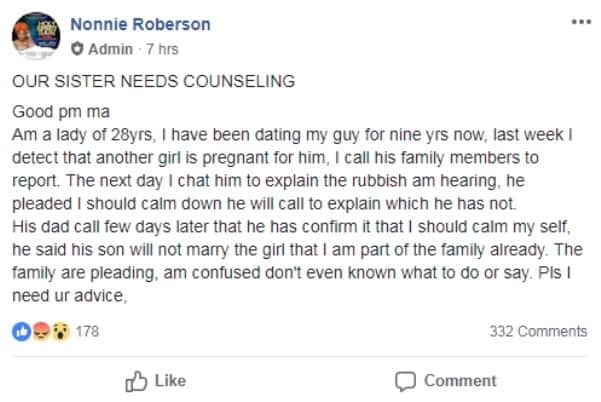 Lady heartbroken after finding out her boyfriend of 9 years impregnated another lady