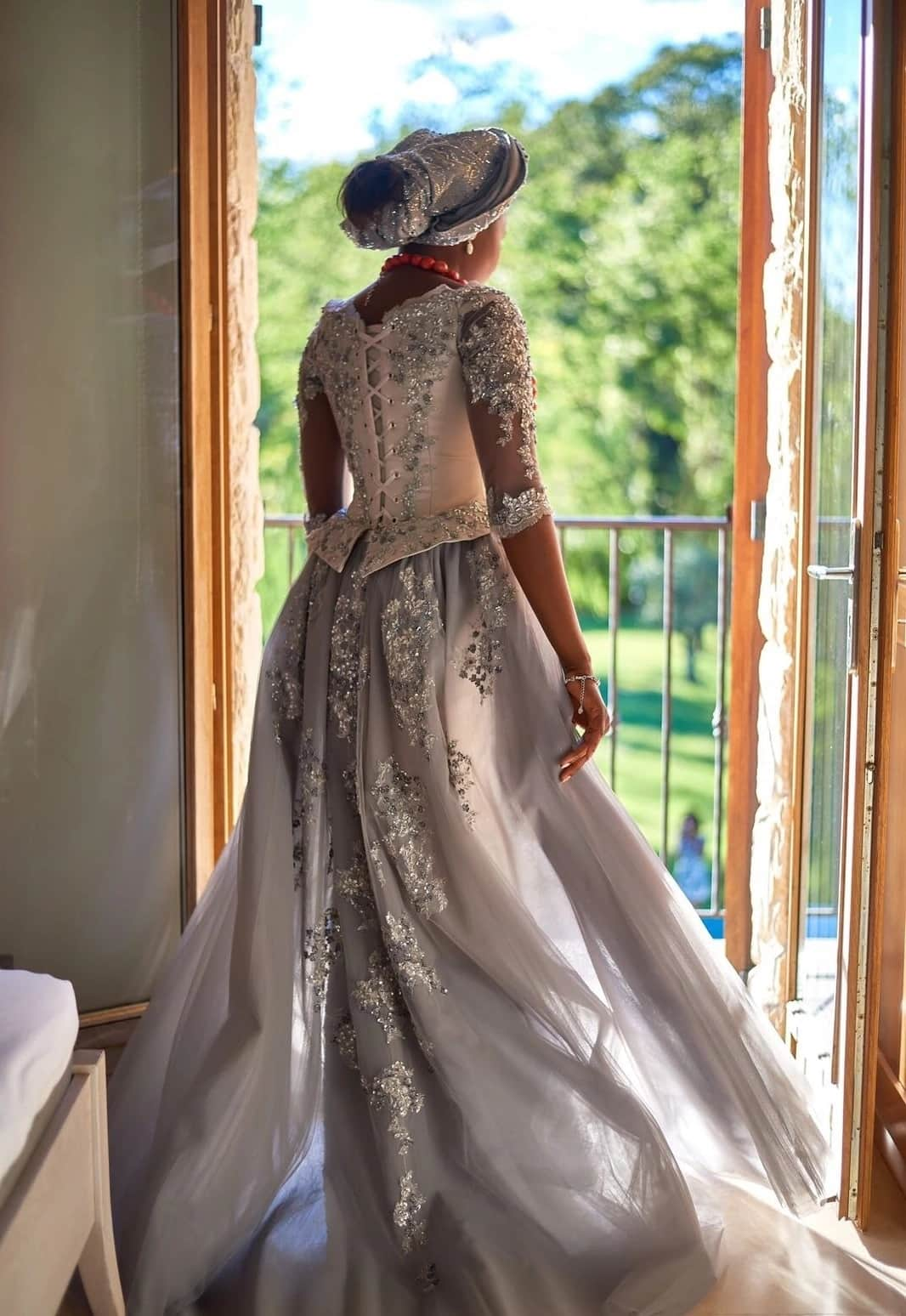Wedding gown with French lace sleeves