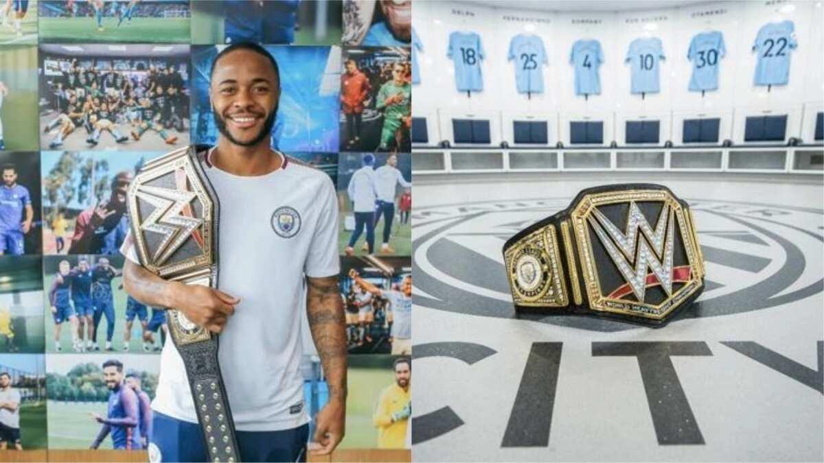 Manchester City receive title belt for winning the Premier League