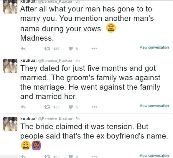 Bride called her ex's name while exchanging marital vows