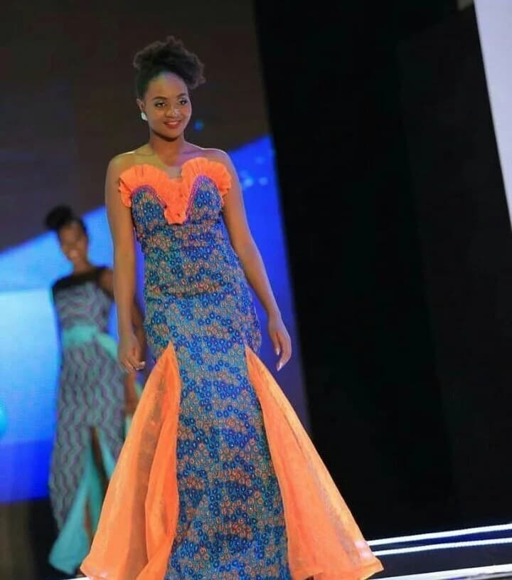 Ankara gown with chiffon inserts and decor (photo from Miss Africa 2017)