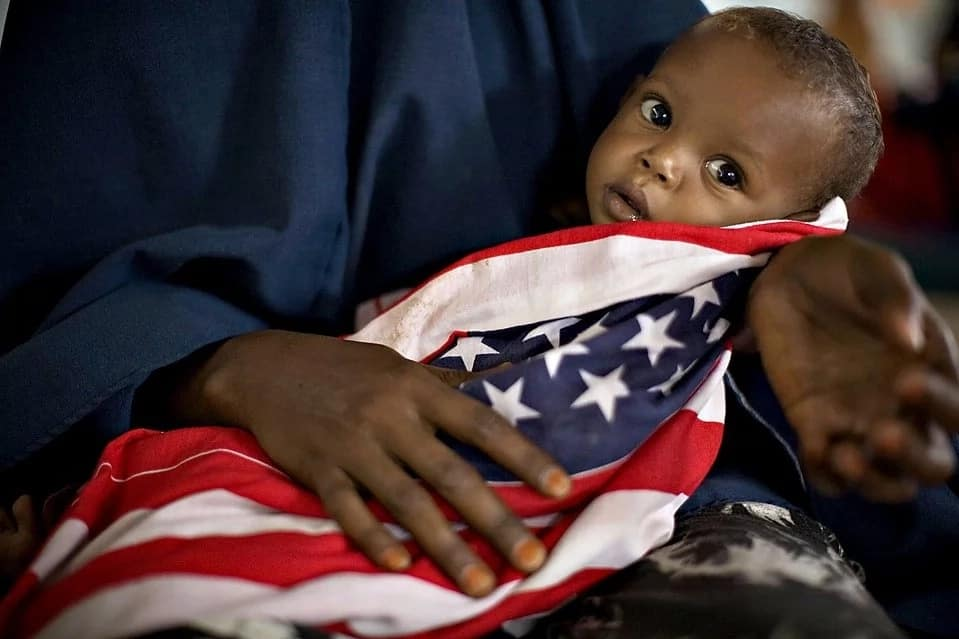 Baby in American flag
