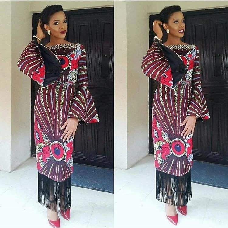Ankara straight gowns with fringe
