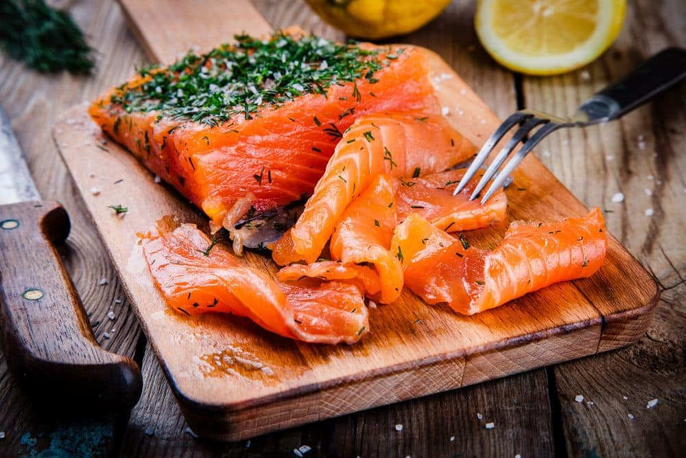 Redfish and other types of oily marine fish