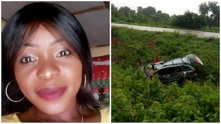 Beautiful lady cheats death as car veers off highway few months to her wedding anniversary