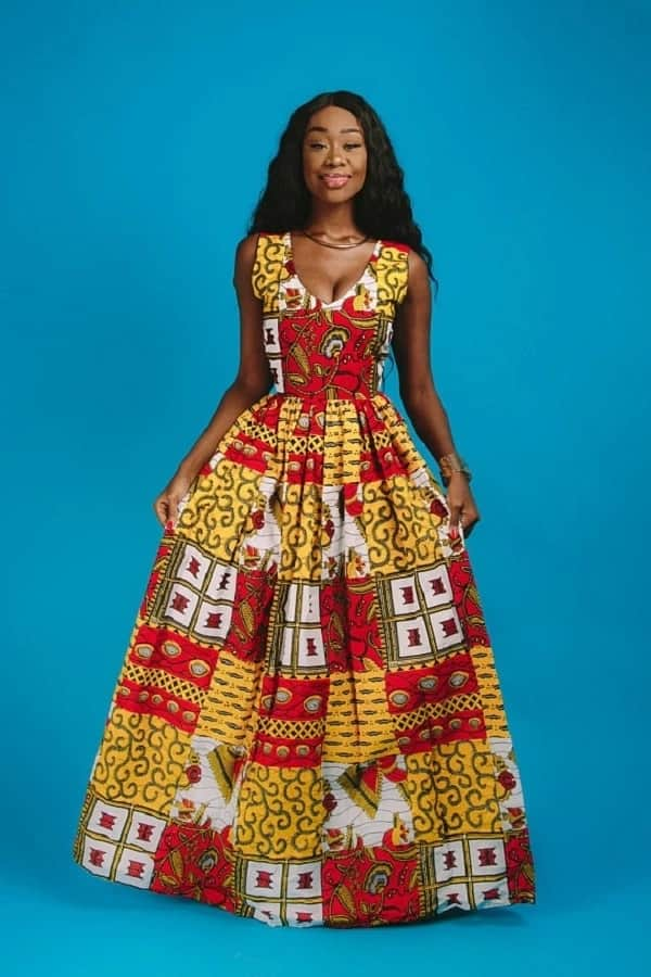 Ankara long gown in a patchwork style