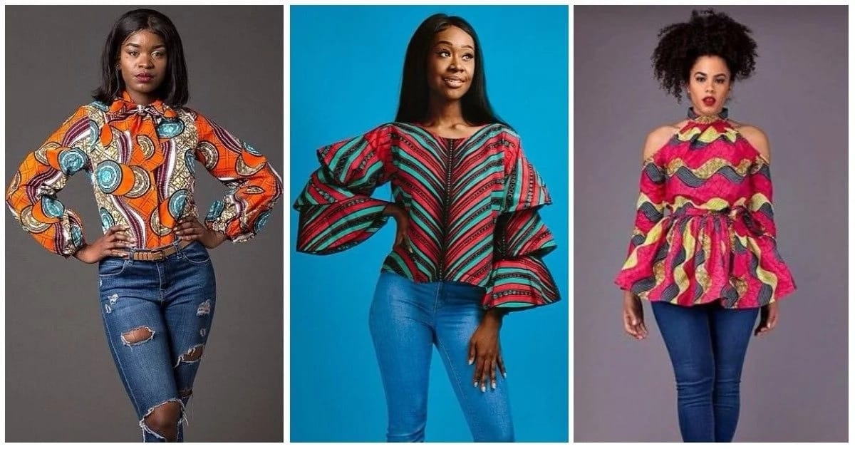 7d708747f16220 Ankara blouses on jeans  best designs 2017-2018 ▷ Legit.ng