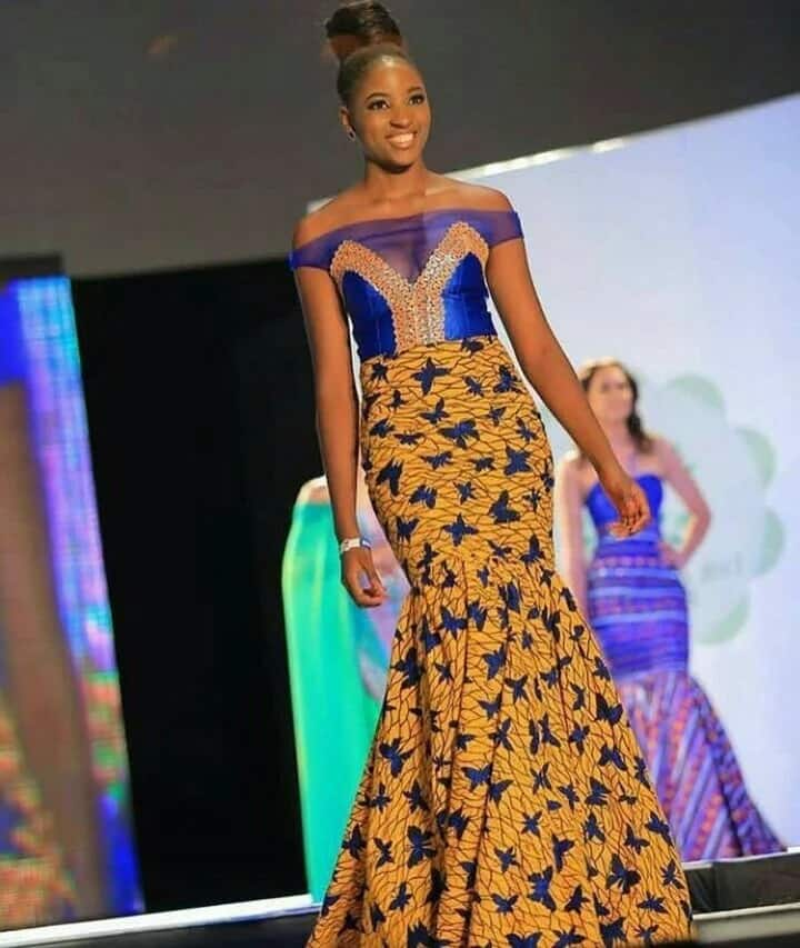 Ankara gown with brocade and chiffon inserts (Miss Africa 2017)