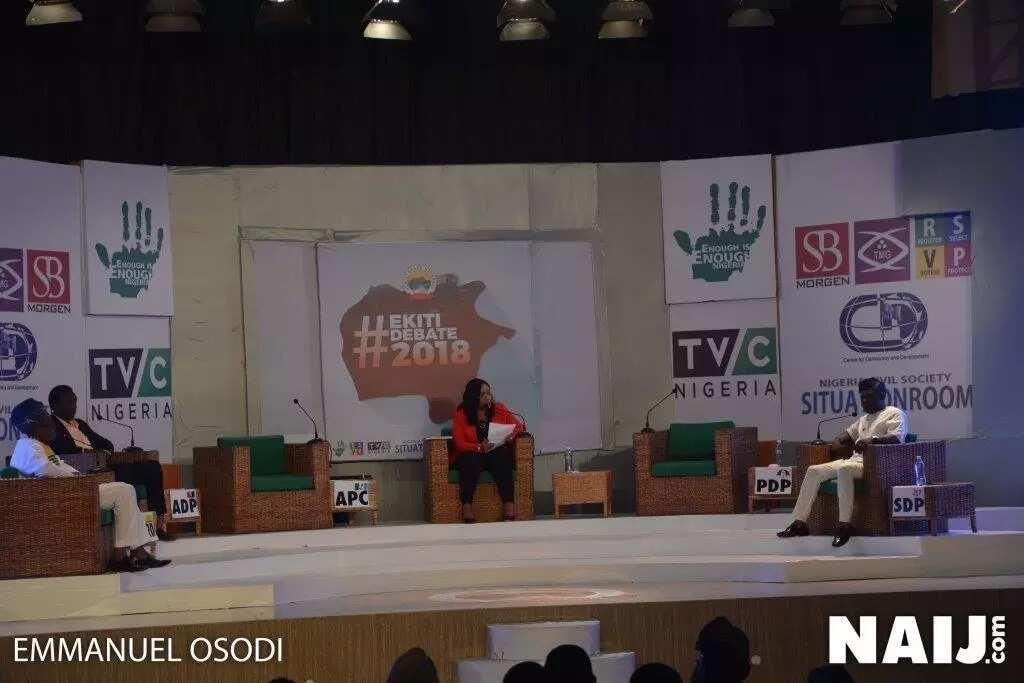 Dr Kayode Fayemi of the APC and Professor Olusola Eleka of the PDP failed to show up at the Ekiti state election debate in Ado Ekiti. Credit: Emmanuel Osodi