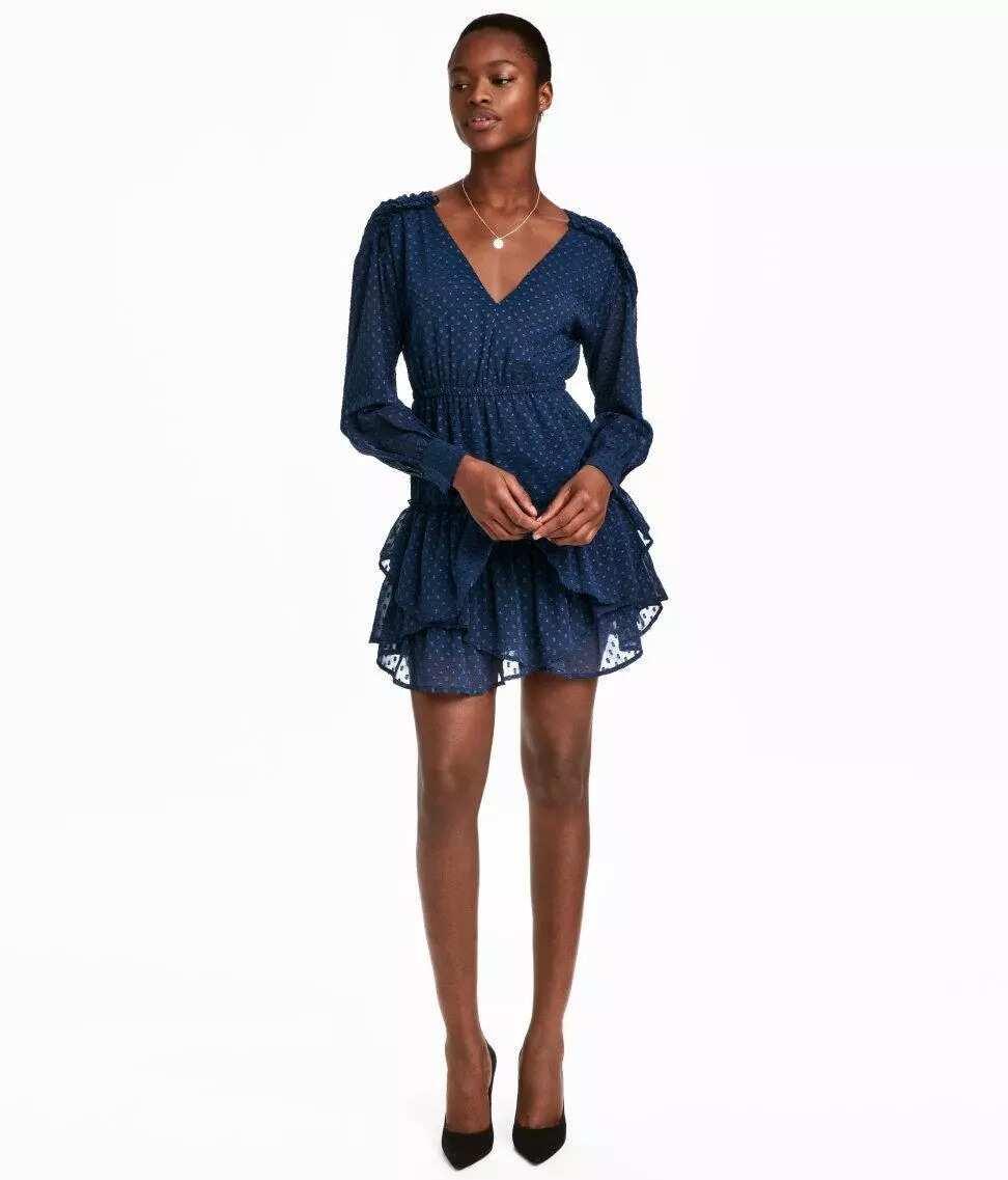 Short chiffon dress with sleeves 8
