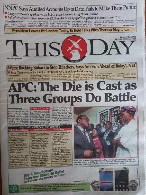 Newspaper headlines for Monday, April 9