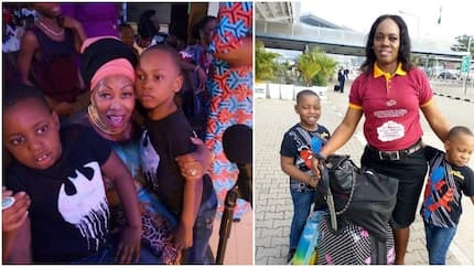 Lady celebrates her twins after 11 years of waiting, says doctors told her she couldn't conceive (photos)