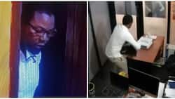 Man caught on camera stealing a laptop at a radio station in Lagos (video)